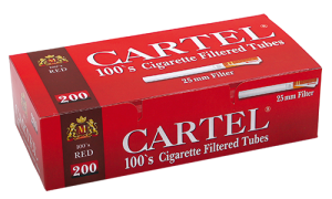 Cigarette filtered tubes CARTEL 100's RED x 50 boxes